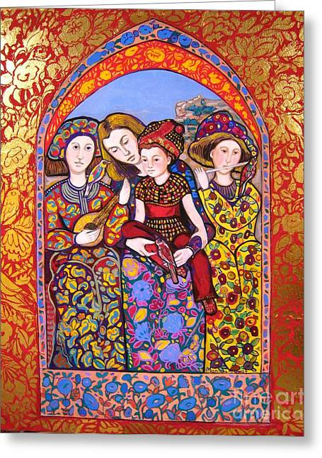Medieval Tapestries Greeting Cards - Liz and Madeline with music Greeting Card by Marilene Sawaf