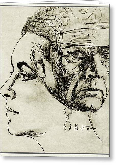 Burton Drawings Greeting Cards - LIZ  and  RICHARD Greeting Card by Hartmut Jager