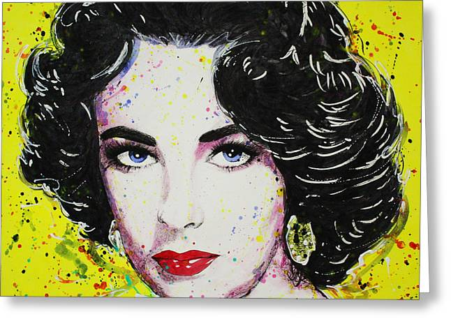 Liz Taylor Greeting Cards - Liz Greeting Card by Chris Mackie