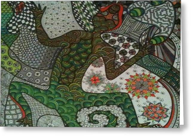 Amphibians Jewelry Greeting Cards - Lizard in Green Greeting Card by Annie DeSanti
