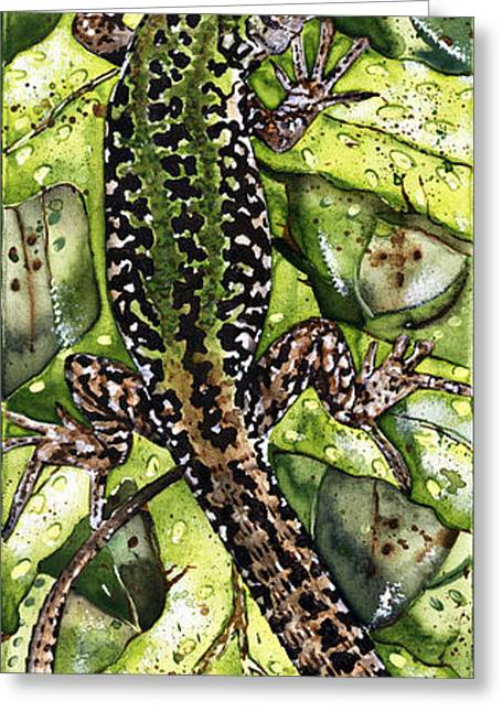 Full Body Drawings Greeting Cards - LIZARD in GREEN NATURE - Elena Yakubovich Greeting Card by Elena Yakubovich