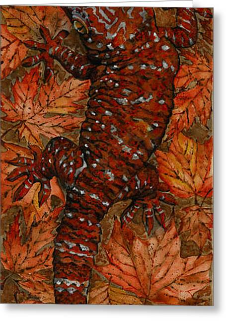 Full Body Drawings Greeting Cards - LIZARD in RED NATURE - Elena Yakubovich Greeting Card by Elena Yakubovich