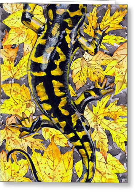 Full Body Drawings Greeting Cards - LIZARD in YELLOW NATURE - Elena Yakubovich Greeting Card by Elena Yakubovich