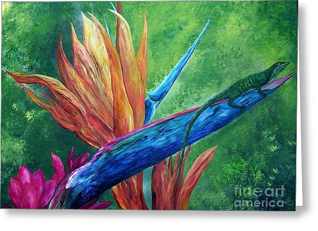 Hawaiin Greeting Cards - Lizard on Bird of Paradise Greeting Card by Eloise Schneider