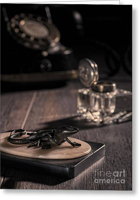 Intrigue Greeting Cards - Lizard Paperweight Greeting Card by Amanda And Christopher Elwell