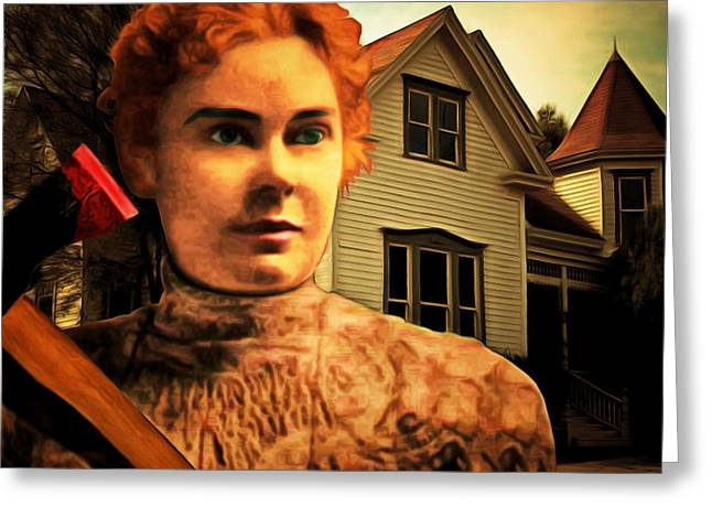 Lizzy Greeting Cards - Lizzie Borden Took An Ax 20141226 square Greeting Card by Wingsdomain Art and Photography