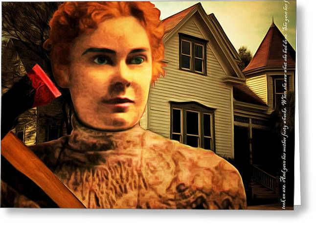 Lizzy Greeting Cards - Lizzie Borden Took An Ax 20141226 square with text Greeting Card by Wingsdomain Art and Photography