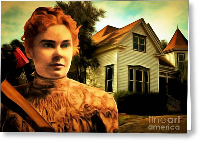 Lizzy Greeting Cards - Lizzie Borden Took An Ax 20141226 Greeting Card by Wingsdomain Art and Photography