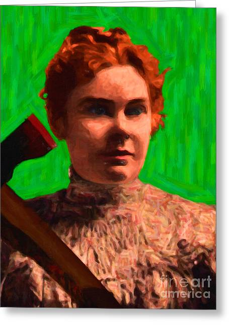 Lizzy Greeting Cards - Lizzie Bordon Took An Ax - Painterly - Green Greeting Card by Wingsdomain Art and Photography