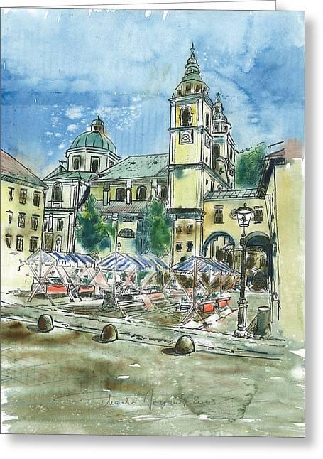 St Piran Greeting Cards - Ljubljana - The Cathedral Greeting Card by Marko Jezernik