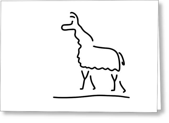 Llama Drawings Greeting Cards - Llama Alpaca Greeting Card by Lineamentum
