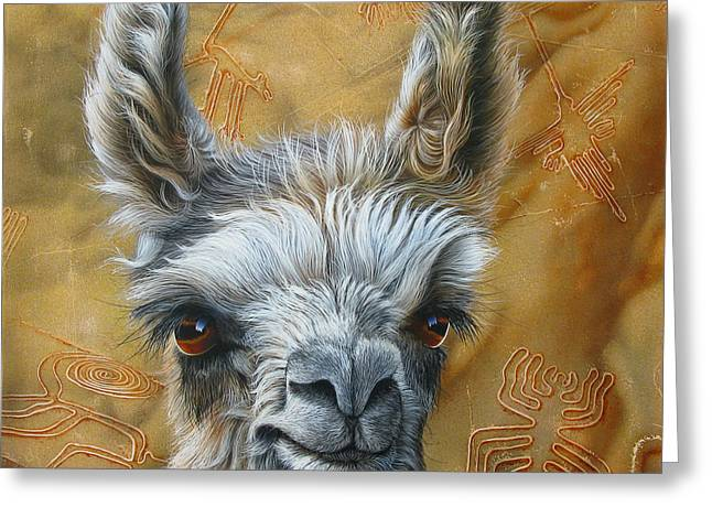 Llama Baby Greeting Card by Jurek Zamoyski
