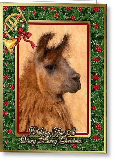 Llama Drawings Greeting Cards - Llama Blank Christmas Card Greeting Card by Olde Time  Mercantile
