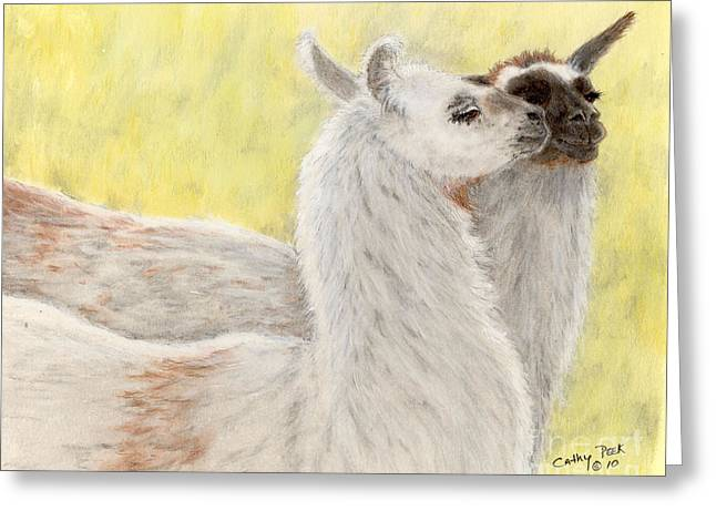 Animals Love Greeting Cards - Llama Love Camelid Farm Animal Pets Art Greeting Card by Cathy Peek
