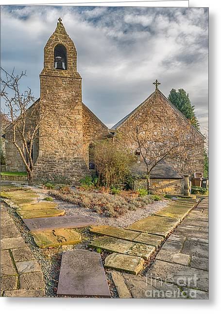 Grave Stone Greeting Cards - Llanasa Church Greeting Card by Adrian Evans