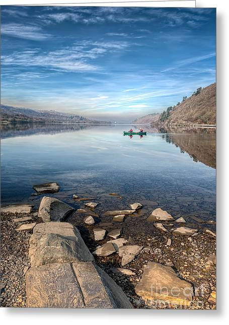 Green Canoe Greeting Cards - Llanberis Lake Greeting Card by Adrian Evans