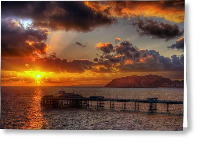 Llandudno Greeting Cards - Llandudno Pier Sunrise Greeting Card by Mal Bray