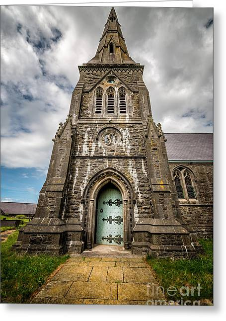 Religious Digital Art Greeting Cards - Llandwrog Church  Greeting Card by Adrian Evans