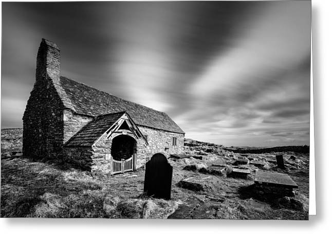 Monochrome Greeting Cards - Llangelynnin Church Greeting Card by Dave Bowman