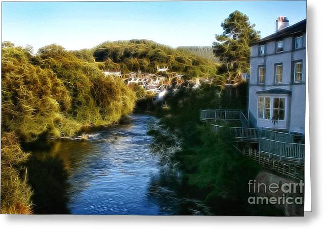 Garden Scene Digital Art Greeting Cards - Llangollen and Maelor Famous Hotel Greeting Card by Michael Braham