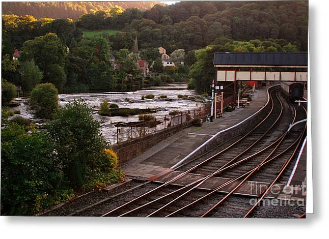 Garden Scene Digital Art Greeting Cards - Llangollen Steam Train Station In Wales Greeting Card by Michael Braham