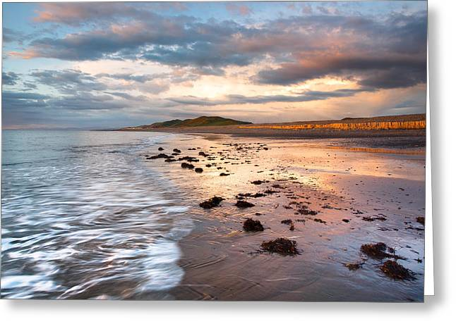 Ocean Photography Greeting Cards - Llanrhystud beach sunset Greeting Card by Izzy Standbridge