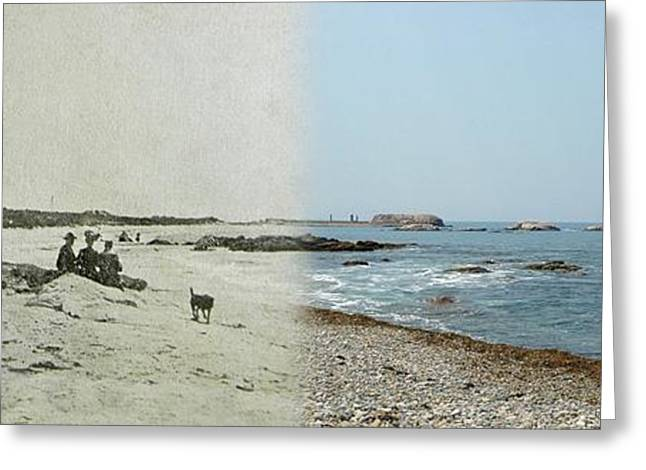 Historical Pictures Greeting Cards - Lloyds Bathing Beach at Sakonnet Point in Little Compton RI Greeting Card by Jeff Hayden