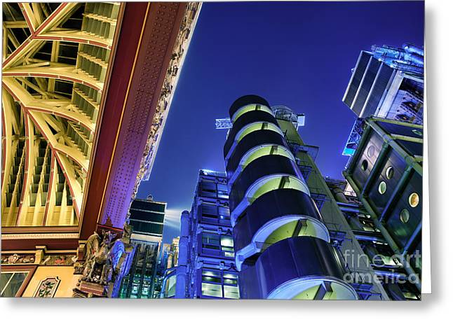 Financial Greeting Cards - Lloyds of London and Leadenhall Market Greeting Card by Rod McLean
