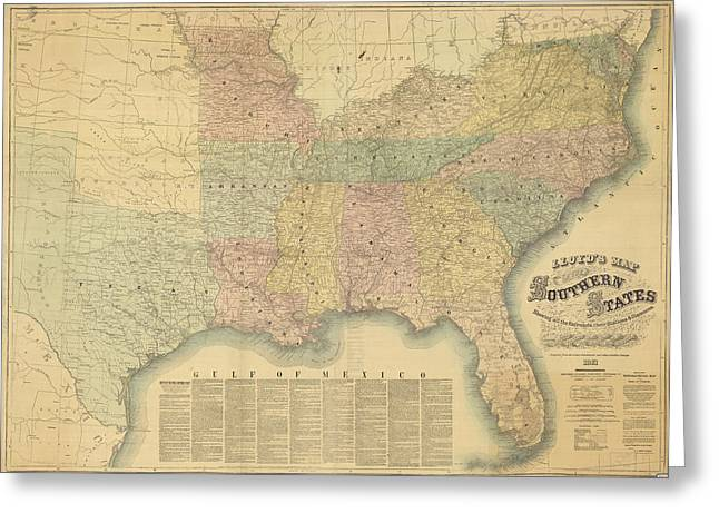 Arkansas Drawings Greeting Cards - Lloyds Railroad Map of the Southern States - 1861 Greeting Card by Historic Maps