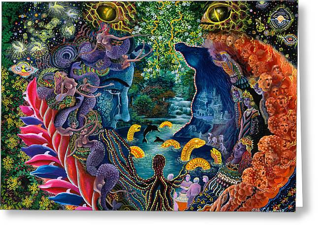 Ayahuasca Greeting Cards - Llullon Llaki Supai Greeting Card by Pablo Amaringo