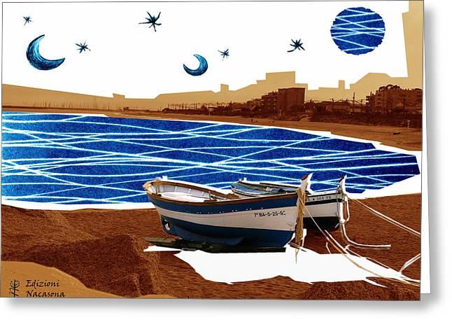 Nit Greeting Cards - Llunes Blaves - Platja Vilassar de Mar  Greeting Card by Arte Venezia