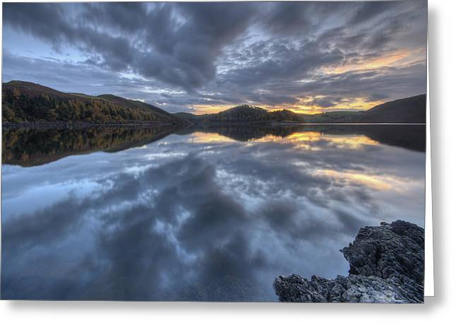 Welsh Reservoirs Greeting Cards - Llyn Clywedog sunset Greeting Card by Nigel Forster
