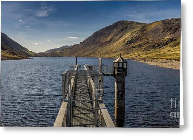 Walkway Digital Art Greeting Cards - Llyn Cowlyd Reservoir Greeting Card by Adrian Evans