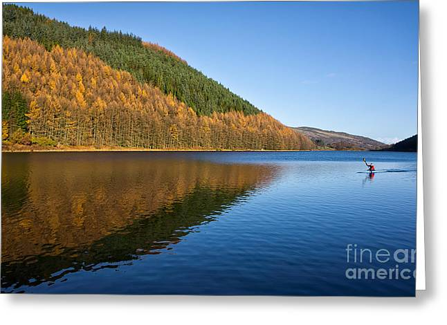 Green Canoe Greeting Cards - Llyn Geirionydd Greeting Card by Adrian Evans
