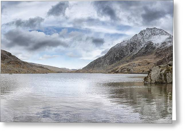 Bedford Hills Greeting Cards - Llyn Ogwen And Tryfan  Greeting Card by Lee  Bedford
