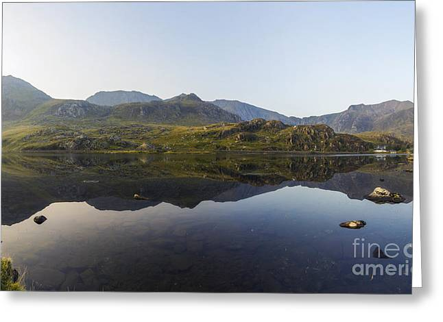 Wales Framed Prints Greeting Cards - Llyn Ogwen Panorama Greeting Card by Ian Mitchell