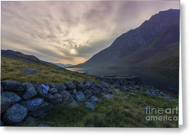 Wales Framed Prints Greeting Cards - Llyn Ogwen Sunrise Greeting Card by Ian Mitchell