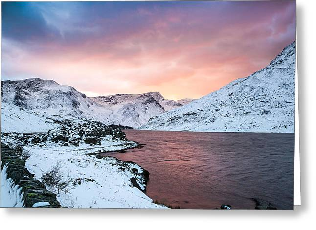 Winter Digital Photo Scene Greeting Cards - Llyn Ogwen Sunset Greeting Card by Christine Smart