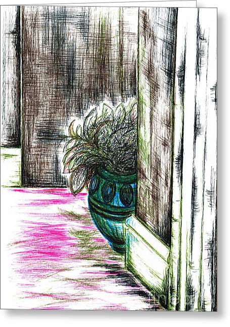 Staircase Drawings Greeting Cards - Indoor plant display Greeting Card by Teresa White