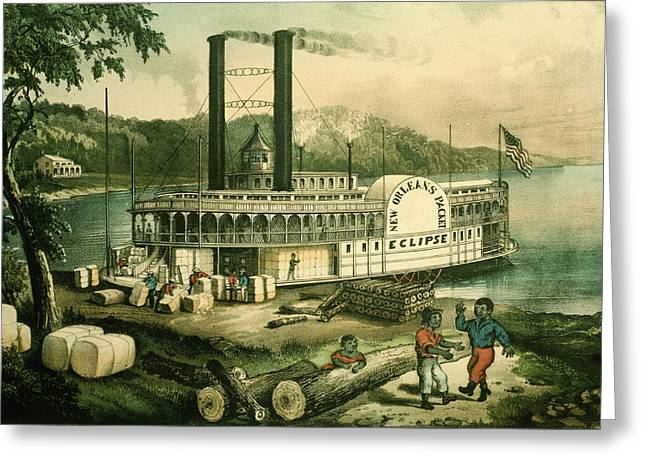 African-americans Greeting Cards - Loading Cotton On The Mississippi, 1870 Colour Litho Greeting Card by N. Currier