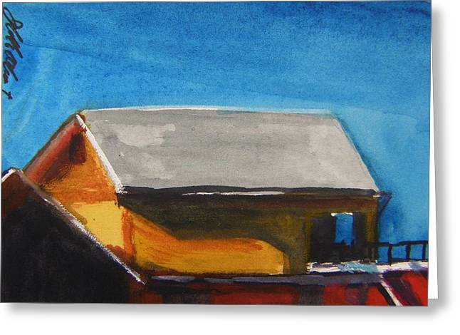 Aceo Original Drawings Greeting Cards - Loading Dock Rear of Barn Greeting Card by John  Williams