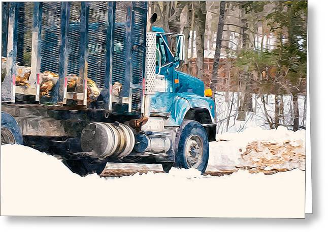 Logging Truck Paintings Greeting Cards - Loading of logs  Greeting Card by Lanjee Chee