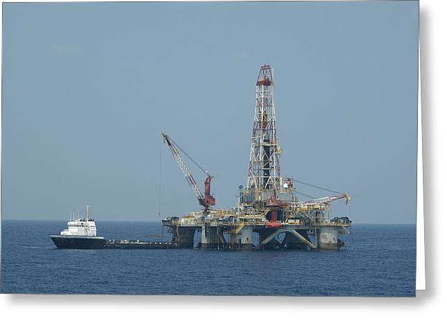 Recently Sold -  - Sea Platform Greeting Cards - Loading on Drill Pipe Greeting Card by Bradford Martin
