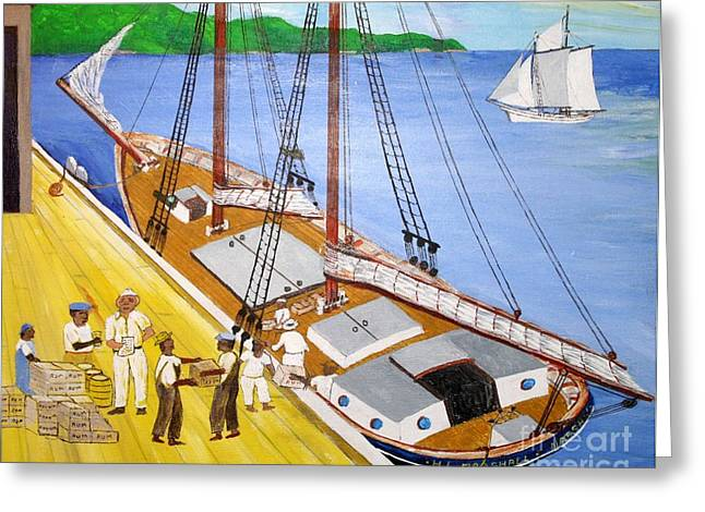 Bill Hubbard Greeting Cards - Loading the sch. H.L.Marshall at Jamaica Greeting Card by Bill Hubbard