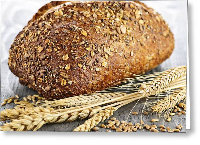 Grain Greeting Cards - Loaf of multigrain bread Greeting Card by Elena Elisseeva