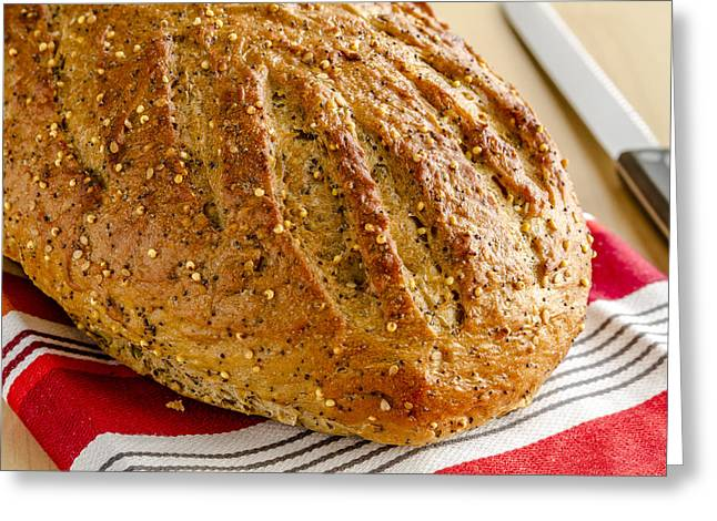 Loaf Of Bread Greeting Cards - Loaf of Whole Grains and Seeded Bread Greeting Card by Teri Virbickis