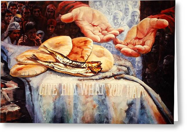 Religious Paintings Greeting Cards - Loaves and Fishes Greeting Card by Graham Braddock