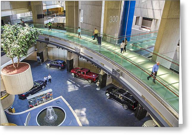 Renaissance Center Greeting Cards - Lobby and walkway of Renaissance Center  Greeting Card by John McGraw