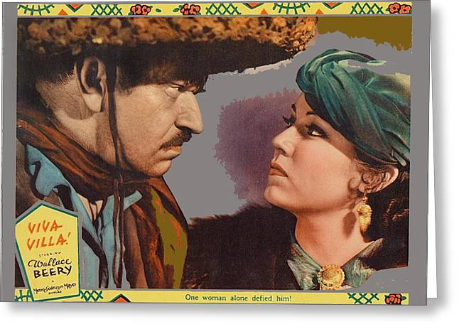 Wray Greeting Cards - Lobby card Viva Villa Wallace Berry Fay Wray 1934-2013 Greeting Card by David Lee Guss