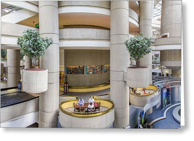 Renaissance Center Greeting Cards - Lobby of the Renaissance Center Greeting Card by John McGraw